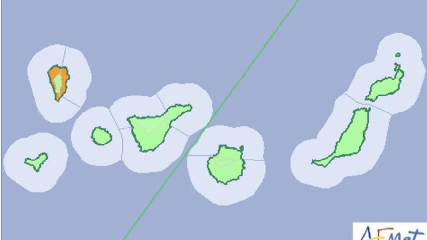 Mapa de la Aemet del aviso de riesgo naranja por lluvias en La Palma para este martes, 15 de noviembre de 2016.