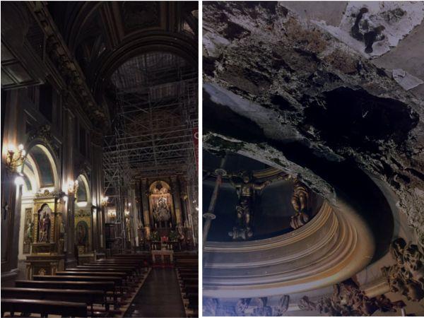 Andamio de las obras y uno de los impactos de Obús de la cúpula de la iglesia de San José | @PalomaSobrini