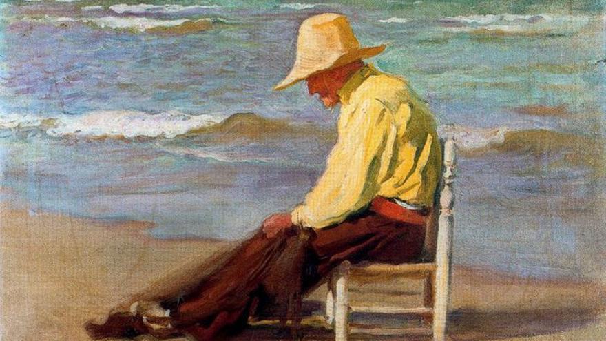 Hombre en la playa.   Cecilio Pla y Gallardo