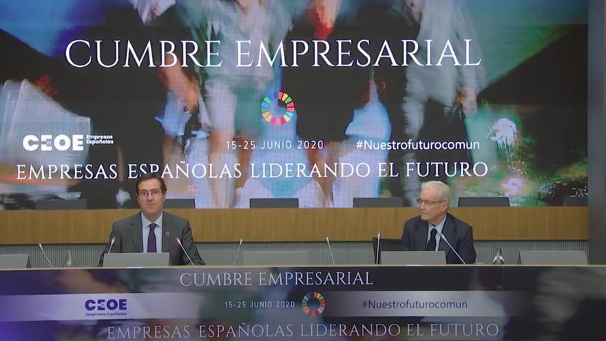 El presidente de la CEOE, Antonio Garamendi, junto al jurista y presidente de ASEDAS Antonio Garriges Walker