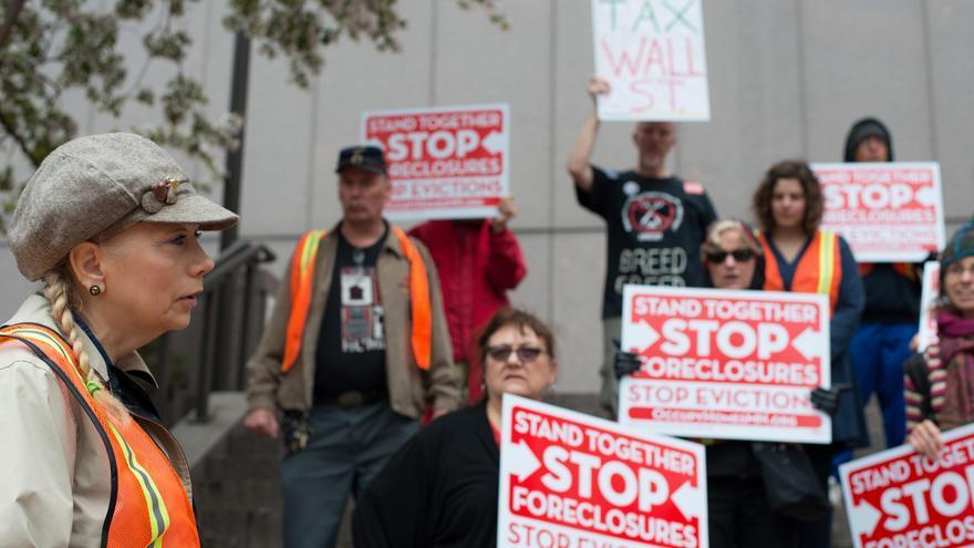 Manifestación contra los desahucios en Minneapolis en 2013.