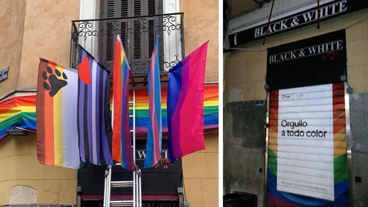 La fachada del Black & White con y sin las banderas LGTBI+| BLACK & WHITE