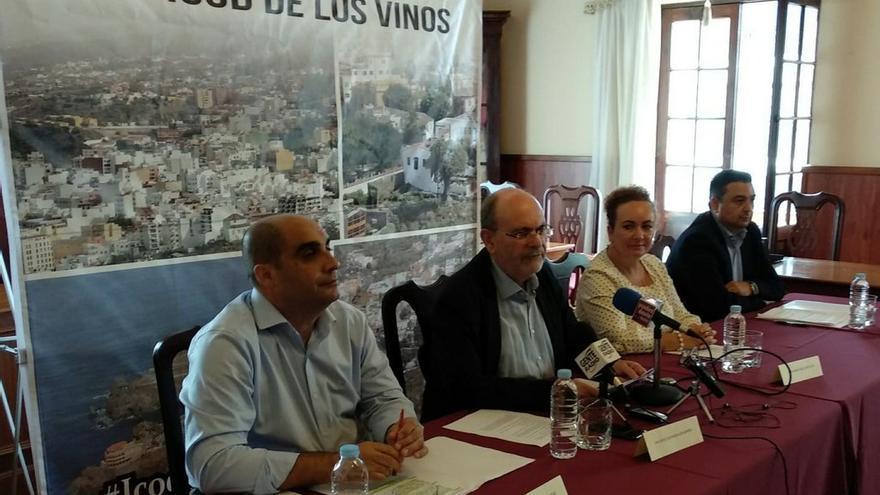 Imagen de la rueda de prensa convocada por el actual grupo de gobierno en Icod de los Vinos