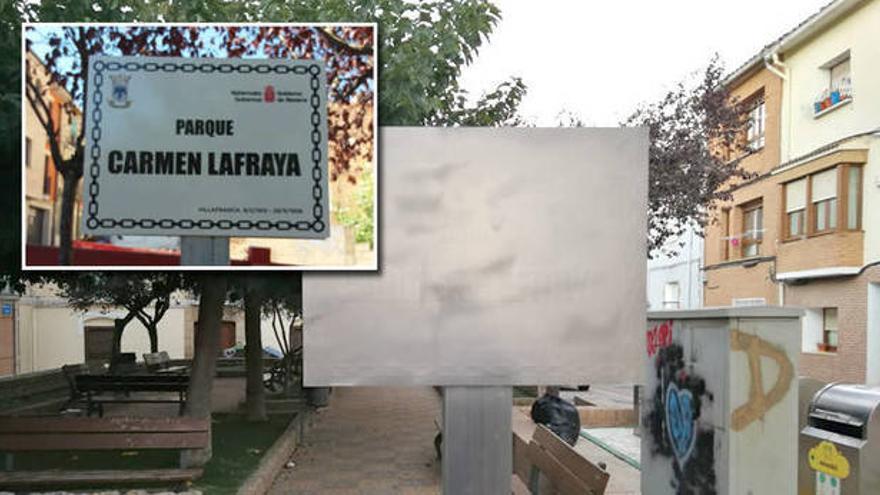 Boicot a la placa memorialista de la plaza Carmen Lafraya en Villafranca, Navarra.