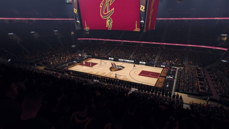 Ambientación de 'NBA Live 18' en un partido de Golden State Warriors contra los Cleveland Cavaliers
