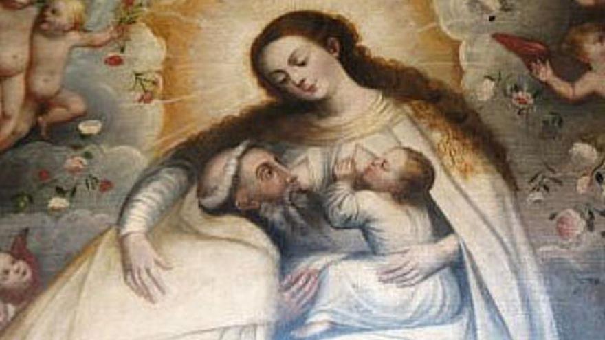 La Virgen de la Merced amamantando al Divino Niño y a San Pedro Nolasco.  Escuela Cuzqueña