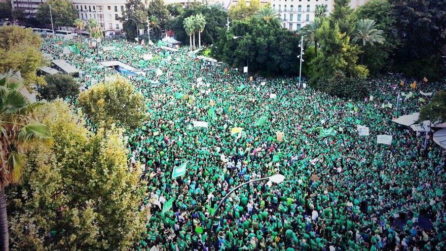 Masiva protesta de la Marea Verde en Baleares