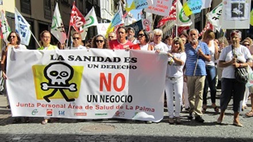 Manifiestación en defensa de la sanidad pública celebrada en Santa Cruz de La Palma.