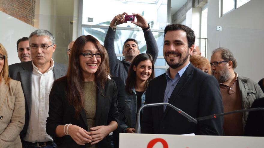 Alberto Garzón y su número dos, Sol Sánchez, en la presentación de la candidatura Unidad Popular.