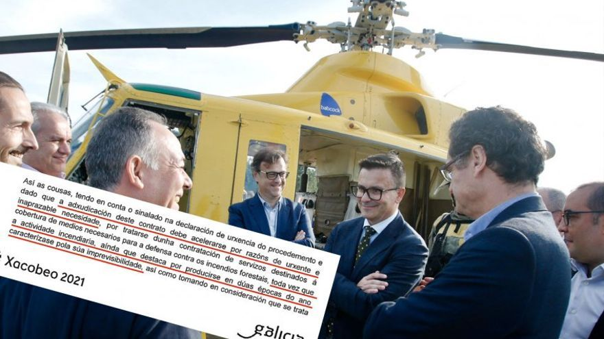 El conselleiro de Medio Rural y el director general de lucha contra el fuego de la Xunta ante un helicóptero de Babcock