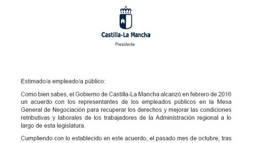 Carta de Emiliano García-Page a los empleados públicos anunciando la total recuperación de retribuciones suprimidas por la 'tasa Cospedal'