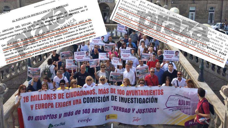 Víctimas de Angrois exigiendo respuestas y escritos que evidencian demoras de Adif y Renfe en la entrega de documentación al juez