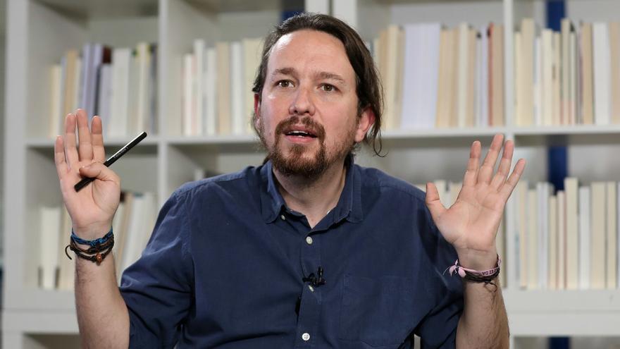 Pablo Iglesias, en la redacción de eldiario.es
