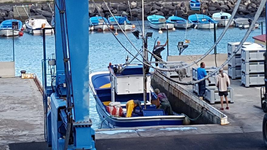 En la imagen, un barco atunero descargando barrilotes este miércoles en el puerto pesquero de Santa Cruz de La Palma. Foto: LA PALMA AHORA.