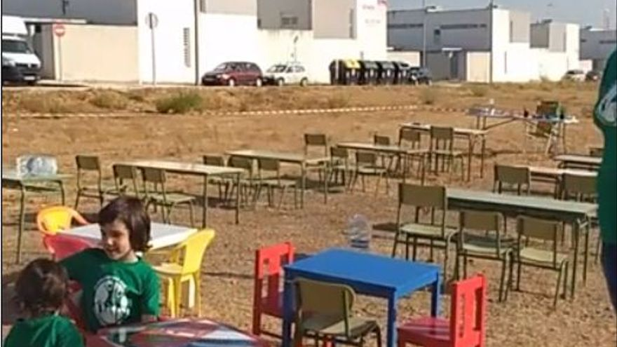 Simulacro de primer día de clase en Cerro Gordo Badajoz colegio
