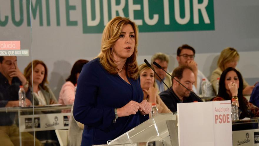 Susana Díaz en el comité director del PSOE-A este martes.