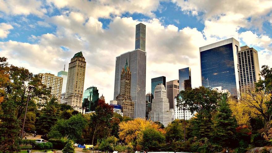 Perspectiva de algunos rascacielos de Manhattan en Nueva York.