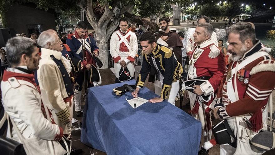 Recreación de la rendición de Nelson en Santa Cruz de Tenerife
