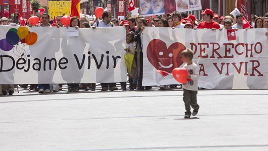 Marcha contra el aborto en Las Palmas de Gran Canaria en 2010.