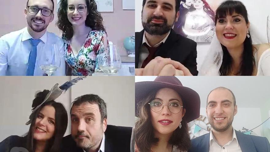 Alejandro y Merche (esquina superior derecha) celebran su compromiso a través de Skype.
