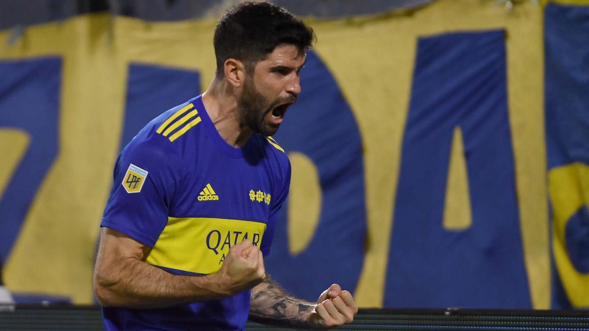 Nicolás Orsini festeja el gol de Boca Juniors