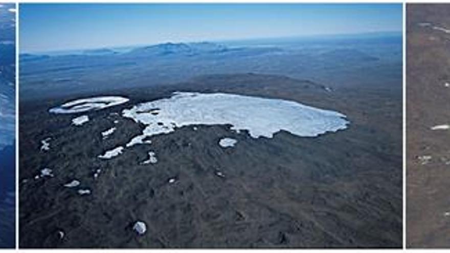 En las imágenes, fotos aéreas del antiguo glaciar Okjökull correspondientes a 1990, 2003 y 2014, cuando se constató que ya no era un glaciar facilitadas por el geólogo islandés Oddur Sigurðsson, quien lo declaró oficialmente muerto.