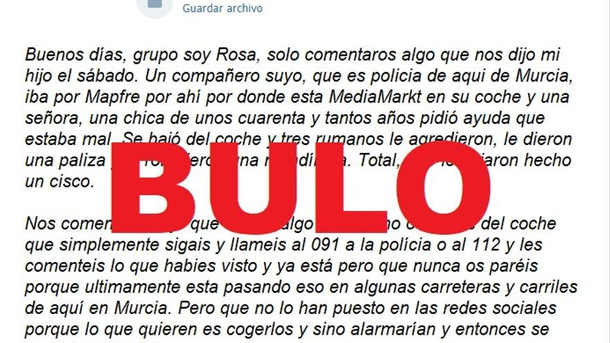 """No, no hay pruebas de que """"tres rumanos"""" hayan dado una paliza a un policía y le """"hayan roto la mandíbula"""" cuando iba a socorrer a una mujer cerca del MediaMarkt y la gasolinera Mapfre de Murcia"""