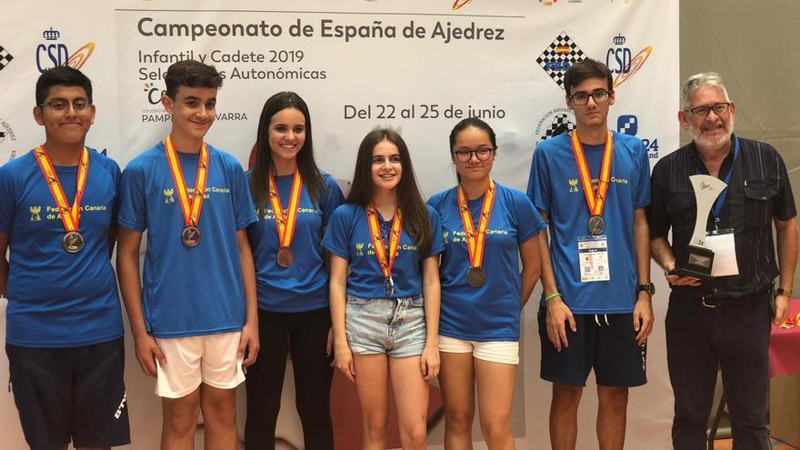 Integrantes de la selección canaria de ajedrez que fueron subcampeones de España en Pamplona
