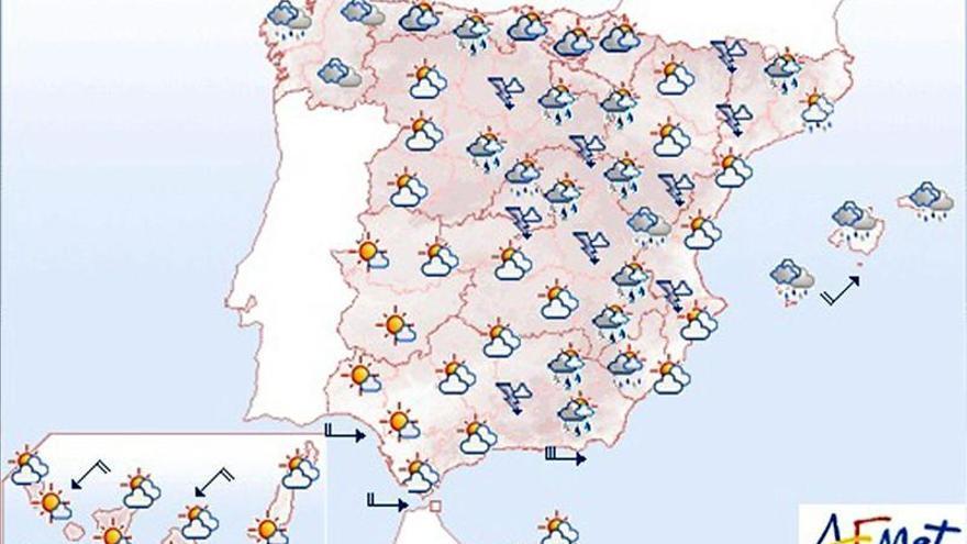 Chubascos y tormentas fuertes en el interior del tercio oriental peninsular