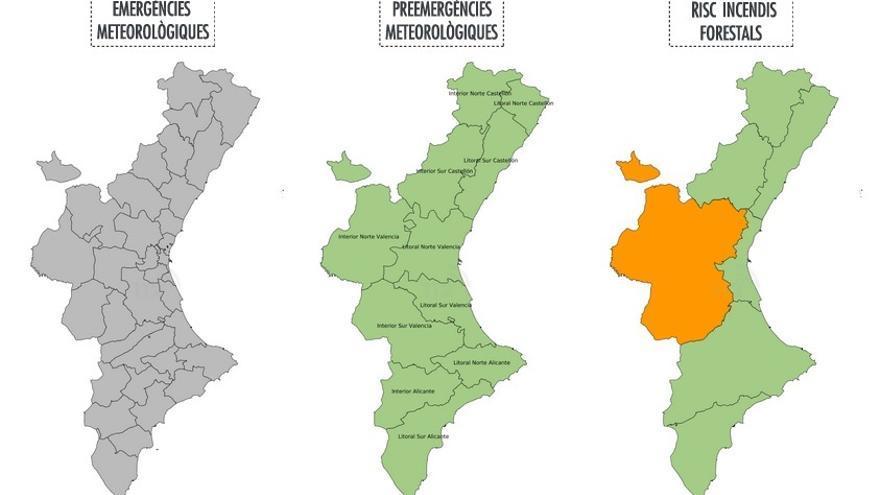 Mapa de alertas en la Comunitat Valenciana el 3 de julio