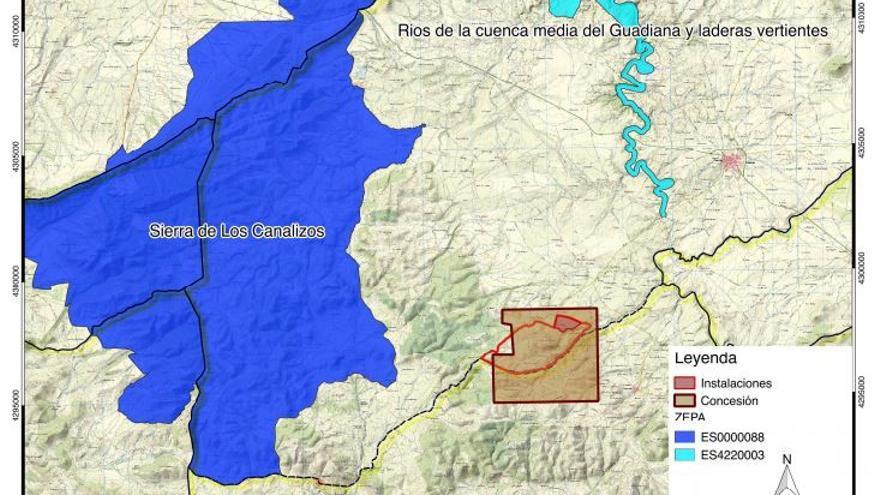 Mapa de la Red Natura y de la mina