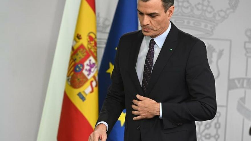 Pedro Sánchez, durante una rueda de prensa en el Palacio de la Moncloa.