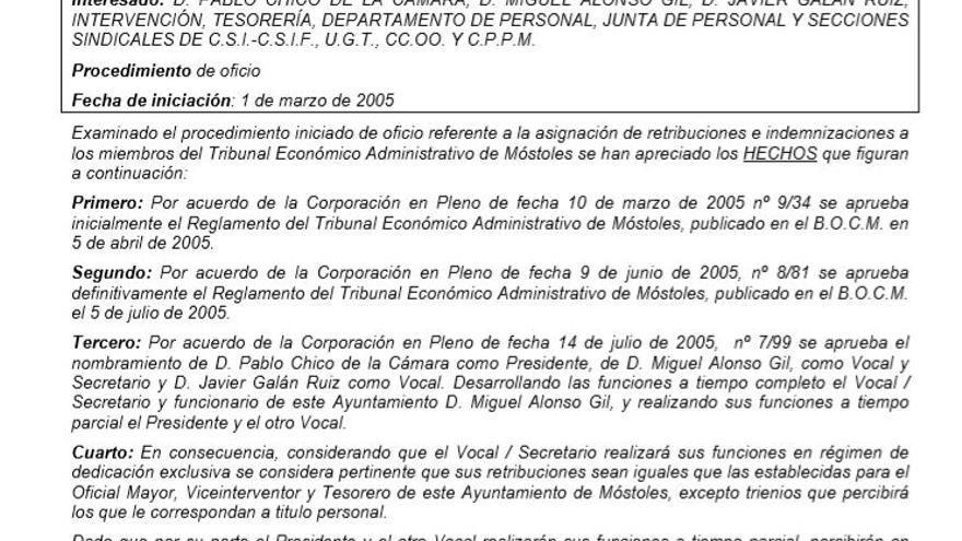 Acuerdo del Ayuntamiento de Móstoles para las retribuciones del Tribunal Económico-Administrativo.