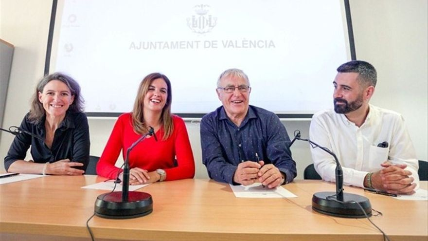 Los líderes del equipo de Gobierno de izquierdas: María Oliver (Unides-Podem-Esquerra Unida), Sandra Gómez (PSPV) y Joan Ribó (Compromís)