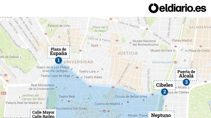 Mapa de cortes de tráfico en el centro de Madrid