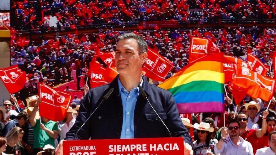 El presidente del Gobierno en funciones, Pedro Sánchez, durante el acto en Mérida