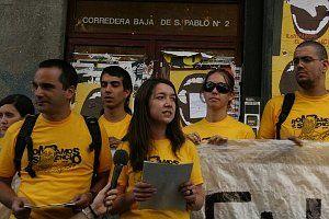 Lectura del comunicado que ponía fin a la 'okupación' | Foto: CENTRODEMEDIOS.ORG