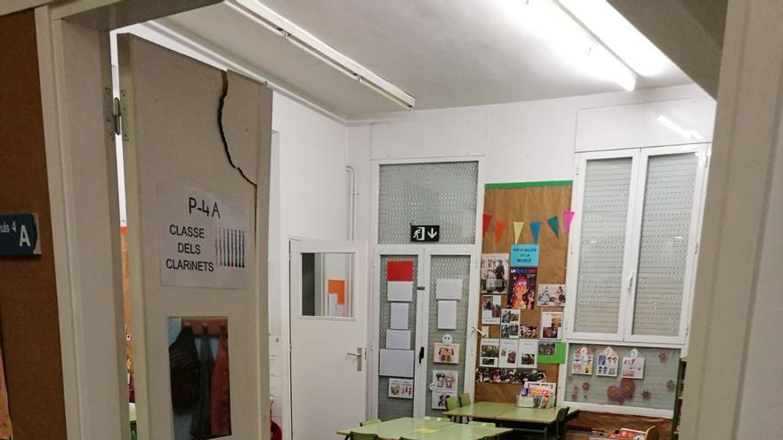 Colegio Pau Romeva de Les Corts tras el desalojo de la policía