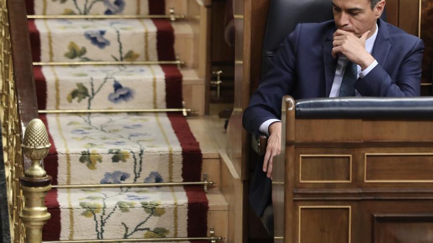 Pedro Sánchez durante la segunda votación de investidura.