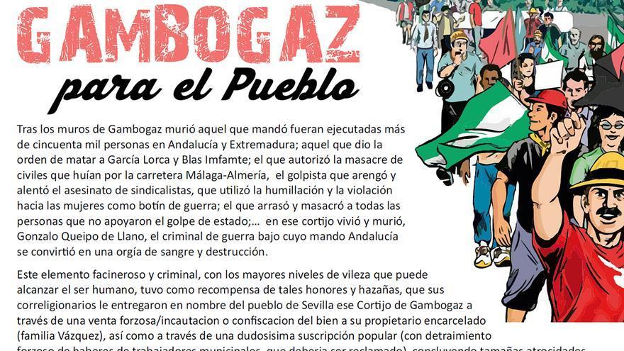 Manifiesto de la marcha 'Gambogaz para el pueblo'.