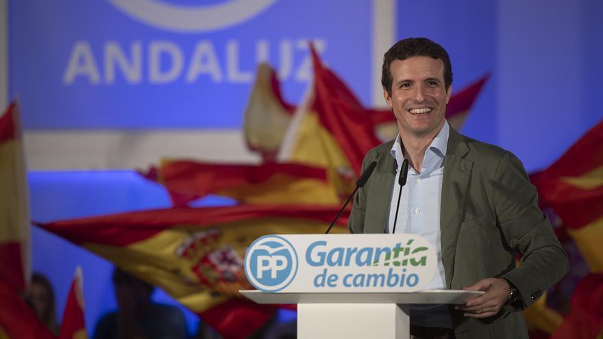 El presidente del PP, Pablo Casado, el domingo, en Málaga.