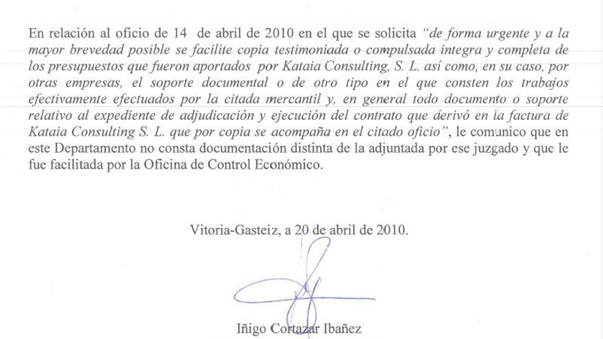 Certificado del Gobierno vasco de la inexistencia de los informes de Kataia Consulting