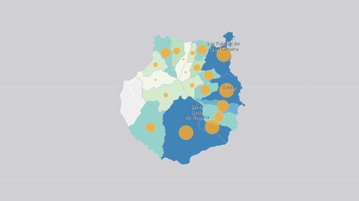 Distribución de los casos positivos en Gran Canaria, este martes, 2 de febrero