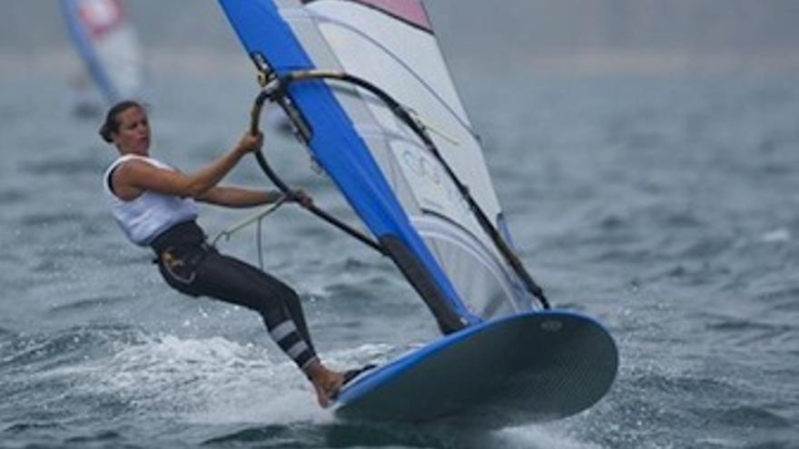 Marina Alabau, durante la prueba que acabó ganando. (Europa Press)