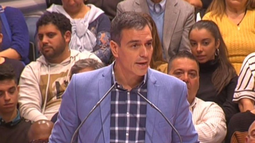 Pedro Sánchez en un mitin del PSOE.