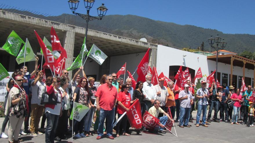 El Parque de Los Álamos acogió este viernes los actos de CCOO y UGT. Foto: LUZ RODRÍGUEZ.