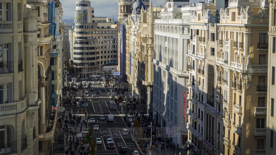 Gran Vía en el primer día de Madrid Central