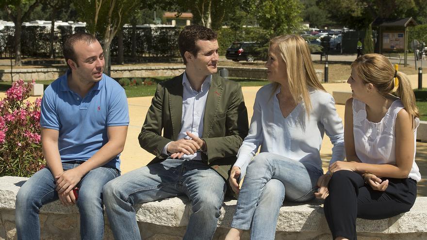 Ángel Carromero, Pablo Casado, Cristina Cifuentes y Ana Isabel Pérez. / Partido Popular