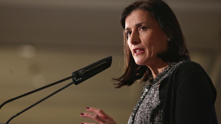 La alcaldesa de Santander, Gema Igual, interviene en una conferencia en Madrid.