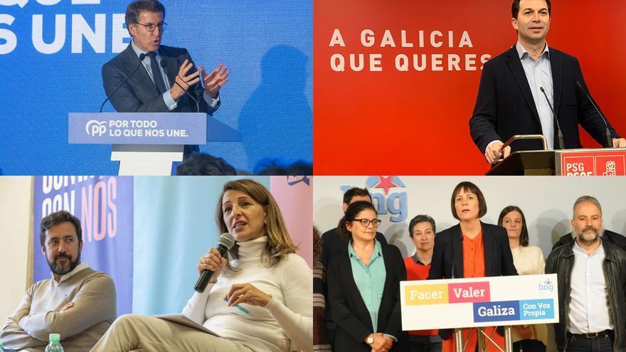 Feijóo, en un acto de campaña, y comparecencias de PSdeG, En Común y BNG para analizar el resultado del 10N